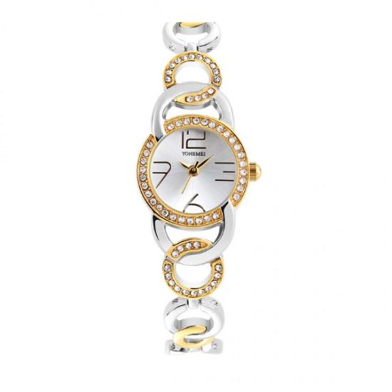 Silver Dial Authentic Korean Steel Stripes Bracelet Ladies Watch W-08
