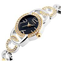 Black Dial Authentic Korean Steel Stripes Bracelet Ladies Watch W-08