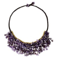 Dance Party Amethyst Chip and Brass Bead Necklace from Thai Artisan ANDN-16