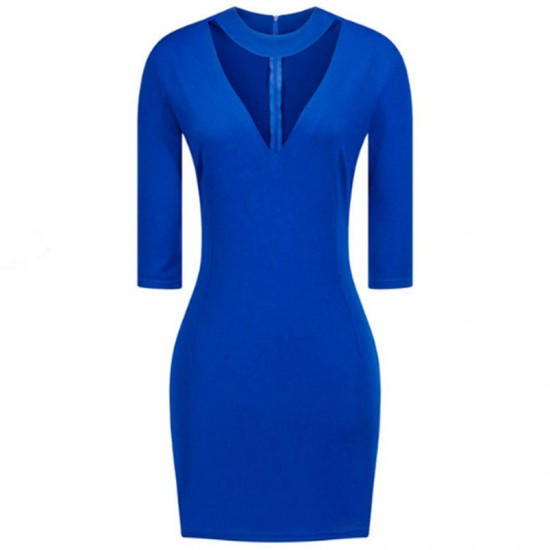 Women Fashion Blue Slim Thin Bag Hip V Collar Mini Dress WC-66BL