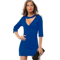 Women Fashion Blue Slim Thin Bag Hip V Collar Mini Dress WC-66