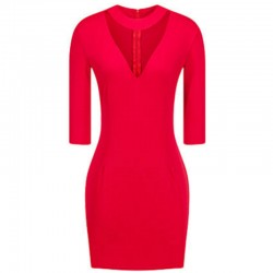 Women Fashion Red Slim Thin Bag Hip V Collar Mini Dress WC-66