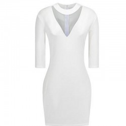 Women Fashion White Slim Thin Bag Hip V Collar Mini Dress WC-66