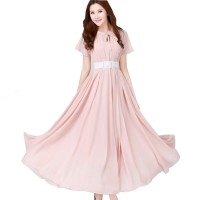 Pink Color Womens Fashion Bohemian Beach Maxi Chiffon Dress WC-42PK