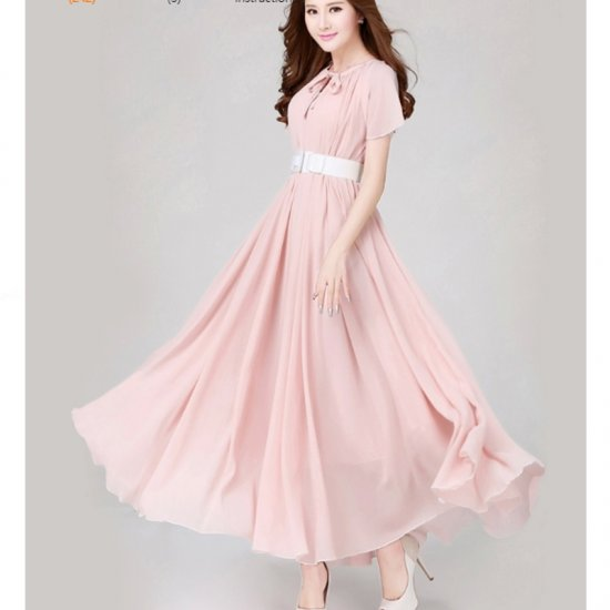Pink Color Womens Fashion Bohemian Beach Maxi Chiffon Dress WC-42PK