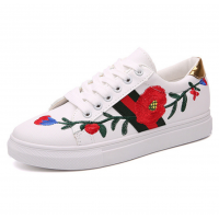 Women White Red Rose Embroidered Sneaker Shoes S-71