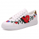 Women White Red Rose Embroidered Sneaker Shoes S-71 image