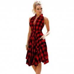 Women Fashion Red plaid sleeveless irregular Thin Coat Mini Dress WC-67RD