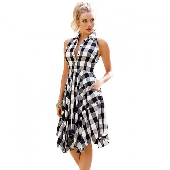 Women Fashion Black Plaid Sleeveless Irregular Thin Coat Mini Dress WC-67BK image