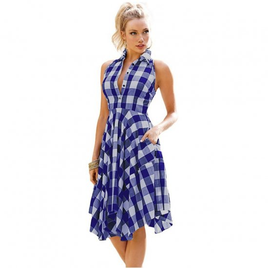 Women Fashion Blue Plaid Sleeveless Irregular Thin Coat Mini Dress WC-67BL image