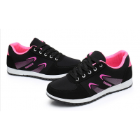 Women Lattice Pattern Black & Pink  Color Canvas Sneaker Shoes S-73PB