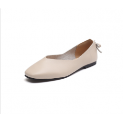 Women Fashion Leisure Style Cream Color Flat Shoes S-72CR