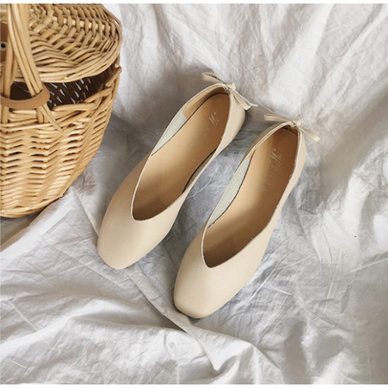 Women Fashion Leisure Style Cream Color Flat Shoes S-72CR image