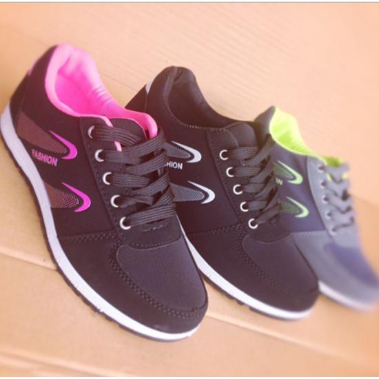 Women Lattice Pattern Black Color Canvas Sneaker Shoes S-73BK