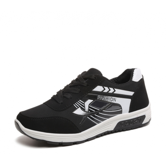 Women Comfty Black with White Shade Jogging Sports Shoes S-75BW image