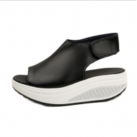 Women Light Weight Black High Heel Leather Sandals S-76BK