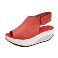Women Light Weight Red High Heel Leather Sandals S-76RD