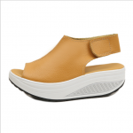 Women Light Weight Orange Color High Heel Leather Sandals S-76OR image