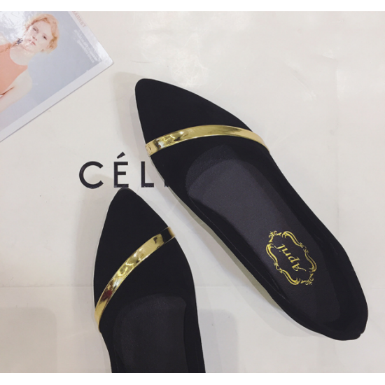 Women Pointed Black with Gold Ribbon Flat Suede Shoes S-77BK image