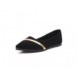 Women Pointed Black with Gold Ribbon Flat Suede Shoes S-77BK