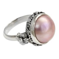 Love Moon Floral Sterling Silver and Pearl Cocktail Ring ANDR-01