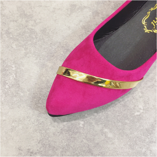 Women Pointed Pink with Gold Ribbon Flat Suede ShoesS-77PK image