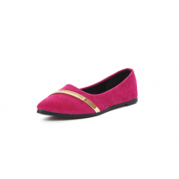 Women Pointed Pink with Gold Ribbon Flat Suede ShoesS-77PK