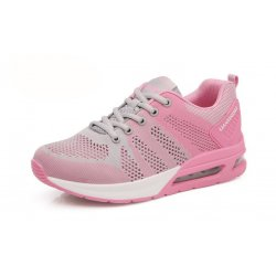 Women Air Cushion Running Grey Pink Jogging Sports Shoes S-79GP