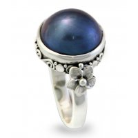 Blue Moon Floral Sterling Silver and Pearl Cocktail Ring ANDR-02