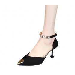 European Fashion Pointed Hollow Word Buckle Black Heels Sandals S-82BK