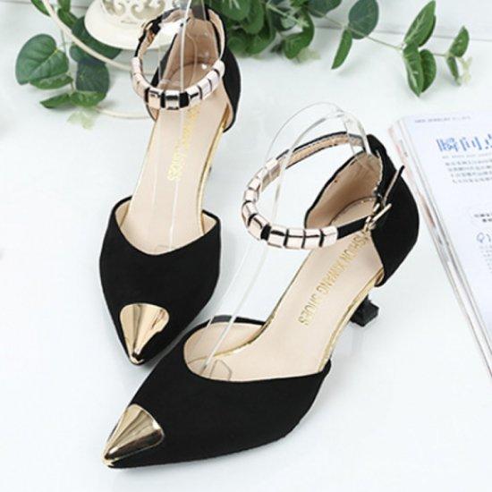 European Fashion Pointed Hollow Word Buckle Black Heels Sandals S-82BK image