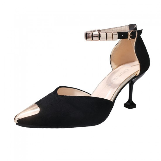 European Fashion Pointed Hollow Word Buckle Black Heels Sandals S-82BK image