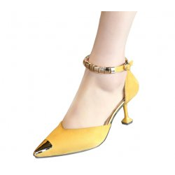 European Fashion Pointed Hollow Word Buckle Yellow Heels Sandals S-82YL