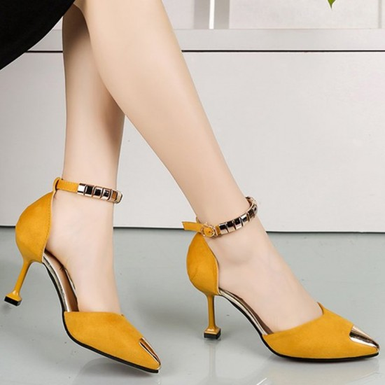 European Fashion Pointed Hollow Word Buckle Yellow Heels Sandals S-82YL image