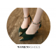 European Fashion Pointed Hollow Word Buckle Green Heels Sandals S-82GN