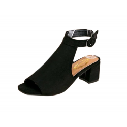 Women Roman Style Fish Mouth Buckle Heel Sandals S-83BK