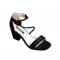 Women Word Buckle Black High Heels Sandals S-84BK