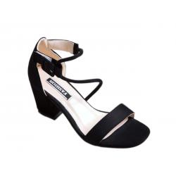 Women Word Buckle Black High Heels Sandals S-84BK