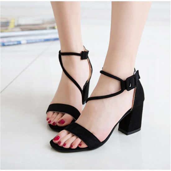 Women Word Buckle Black High Heels Sandals S-84BK image