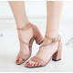 Women Word Buckle Pink High Heels Sandals S-84PK image