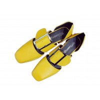 Women Retro Leather Buckle Yellow Color Sandals Shoes S-87Y