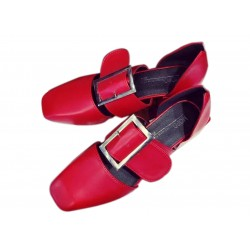 Women Retro Leather Buckle Red Color Sandals Shoes S-87RD