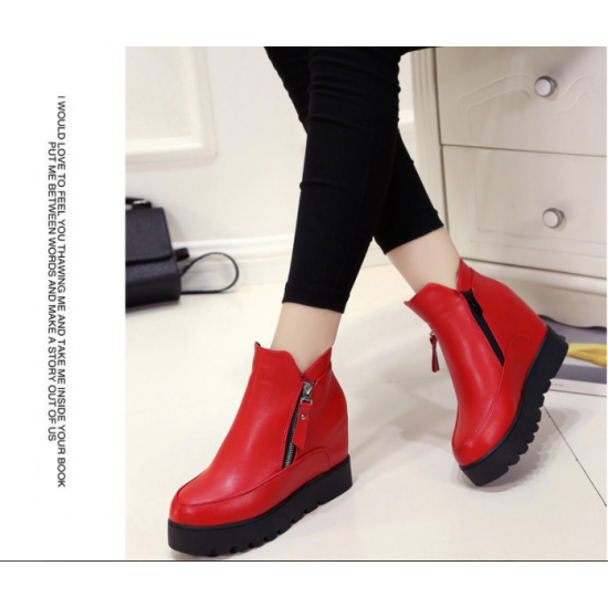Latest Cashmere Leather Women Thick Bottoms Winter Boots S-91RD image