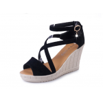 Women Slope Thick Bottom High Heeled Cross Buckle Wedge Sandals S-92BK image