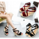 Women Slope Thick Bottom High Heeled Cross Buckle Wedge Sandals S-92BK