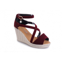 Women Slope Thick Bottom High Heeled Cross Buckle Wedge Sandals S-92RD