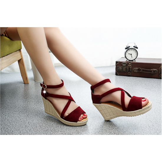 Women Slope Thick Bottom High Heeled Cross Buckle Wedge Sandals S-92RD image