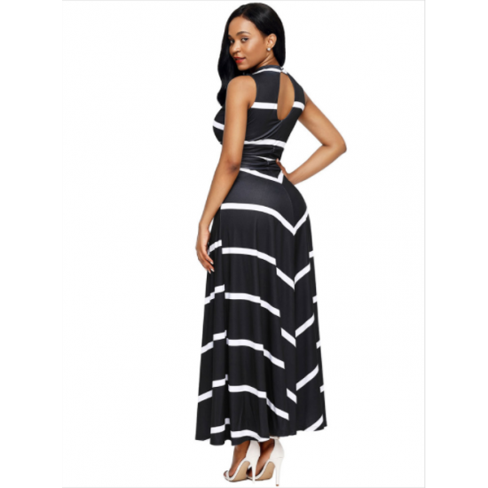 1f20ca8f234 Women Maxi Striped Sexy V Neck Sleeveless High Waist Elegant Dress WC-69BK  image