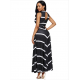 Women Maxi Striped Sexy V Neck Sleeveless High Waist Elegant Dress WC-69BK