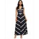 Women Maxi Striped Sexy V Neck Sleeveless High Waist Elegant Dress WC-69BK